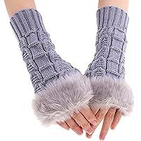 FINEJO New Women Ladies Winter Warm Knitted Fingerless Gloves Hand Wrist Warmer Mitten Grey