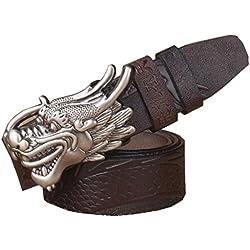 China diseño único piel de vaca lisa hebilla cinturón de cuero de los hombres de cuero genuino dragón hombre correa de cuero de vaca hombre cinturón , coffee