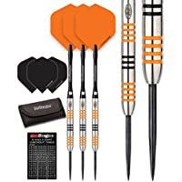 Red Dragon Amberjack 21, 22, 23, 24, 27g – 90% Tungsten Darts Set (Steel Dartpfeile) mit Flights, Schäfte, Brieftasche Checkout Card