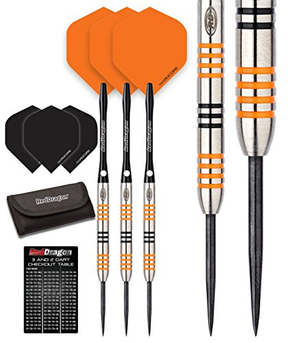 Preisvergleich Produktbild Red Dragon Amberjack 3: 22g – 90% Tungsten Darts (Steel Dartpfeile) mit Flights, Schäfte, Brieftasche & Red Dragon Checkout Card