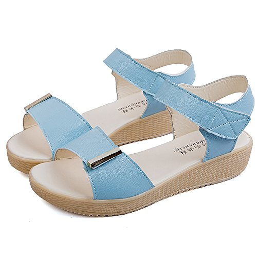 Longra Donne tre Colori sandali Cielo blu