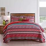 Qucover Übergröße 250 x 270 cm Tagesdecke, Überwurf für Bett, Steppdecke, Sommerdecke   Reine Baumwolle, Patchwork Stil, mit Kissenbezug inklusive
