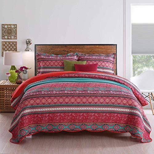 Qucover 230 x 250 cm Tagesdecke, Überwurf für Bett, Sommerdecke | Reine Baumwolle, Patchwork Stil, mit Kissenbezug inklusive Retro-chic Quilt