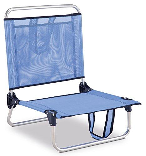 Eredu 835/TXB Chaise de Plage avec Pochette et Poignée Bleu Uni 54 x 50 x 63 cm