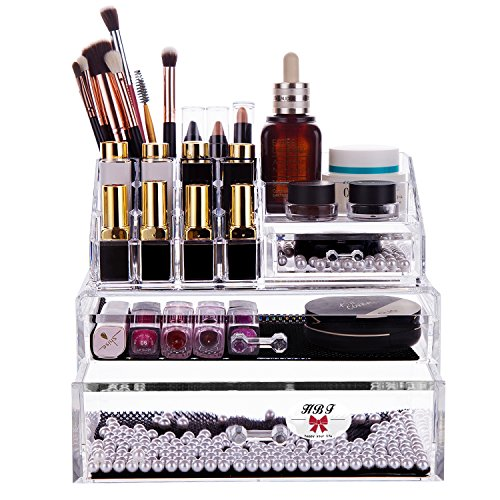 HBF Spitzenqualität Transparent Acryl Make up Organizer Stifthalter Kosmetik Etui Schminktisch Badezimmer. Aufbewahrung Schubladenbox Multifunktionale Lippenstiftständer. Schmuck Kosmetikablage Box aus Acrylglas für Damen