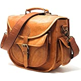 PURPLE RELIC: DSLR Leather Camera Bag ~ Travel Vintage Crossbody Shoulder Bag With Removable Insert ~ Fits Standard Size DSLR With Lens For Canon Nikon Sony