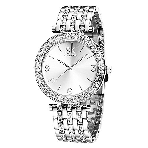 Damen Quarz Armbanduhr Edelstahl Armband Wasserdicht Luxus Analoge Uhren Silber