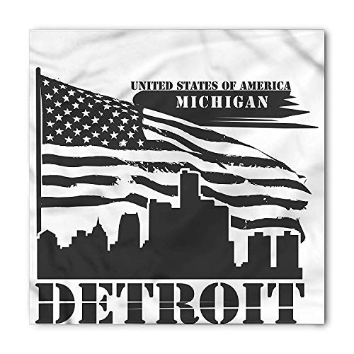 BTGSRK Detroit Bandana, USA Flag Grunge City, Unisex Head and Neck Tie, Printed Unisex Bandana Head and Neck Tie Scarf Headband, Multicolor S 60x60cm -