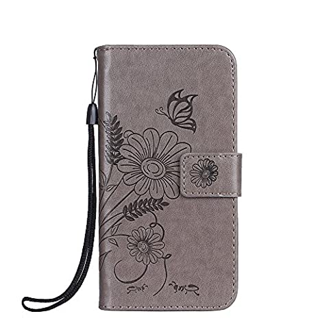 iphone 6 6S Case , Cozy Hut [Wallet Case] Premium Soft PU Leather Notebook Wallet Embossed Flower Ants Dating Design Case with [Kickstand] Stand Function Card Holder and ID Slot Slim Flip Protective Skin Cover for iphone 6 6S - gray