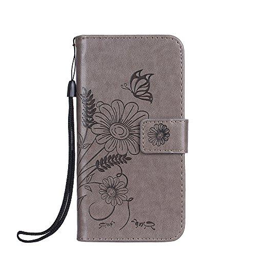 Ecoway Para iPhone 7/7G (4,7 zoll) funda, (gris) gofrado cuero de la PU Leather cubierta ,Función de Soporte Billetera con Tapa para Tarjetas correa de mano soporte para teléfono