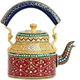 ECraftIndia Handpainted Decorative Traditional Tea Kettle - 103 Maroon Color