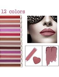 CINEEN Longue Durée Set de 12 Couleurs Rouge à Lèvres Liquide Mat Waterproof Hydratant Brillant à Lèvres Maquillage