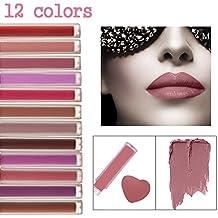 CINEEN 12 Color Matte Impermeable Brillo Labios Líquida Lápiz Labial Larga Duración Lustre Terciopelo Lipgloss