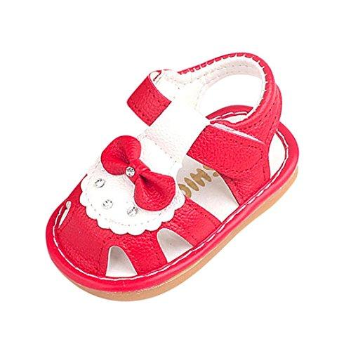 aby Quietschen Schuhe Quietscher Babyschuhe Bowknot Sandalen(24 Monate/13 cm,Rot) (Baby Cowboy Stiefel Für Mädchen)