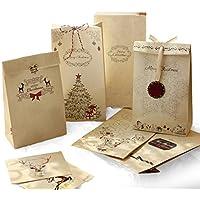 Sinoest Set Emballage Cadeau Noël – 24 Sachets Kraft Papier + 48 Autocollants + 30m Ficelle Corde en Jute + 14 Etiquettes Noël – Sac Cadeau Noël, Mariage, Fête, Anniversaire Mariage