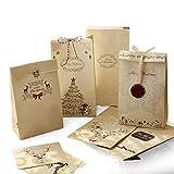 Sinoest Adventskalender zum Befüllen - 24 Kraftpapiertüten Braun mit Boden + Adventskalender Zahlen +Jute Kordel + Weihnachtsanhänger - Papier Beutel Papiertüten Weihnachten Kraftpapier Geschenktüten -