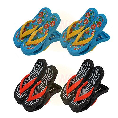wiwo 4Paar Sandale Flip Flop Handtuch Clips–2x Tropical & 2x Zebra Print