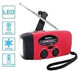 Solar Radio,BESTVA AM/FM/WB Kurbelradio klassik-radio Wiederaufladbares Wasserdicht LED Dynamotaschenlampe Powerbank für Wandern,Camping,Ourdoor,Notfall(ROT)