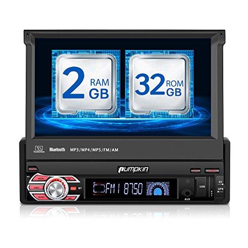 PUMPKIN 32GB + 2GB Android Autoradio Moniceiver mit GPS Navi Bluetooth 1 Din 7 Zoll Bildschirm Unterstützt DAB+ WLAN Mirrorlink USB Rückfahrkamera OBD2 Subwoofer