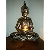Hunky Dory Gifts Large Meditating Thai Buddha Statue Tealight Holder Bronze Gold Colour Ornament