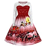 TEBAISE Damen Weihnachten Bequem V-Ausschnitt Kleid Langarm Weihnachtskleid Christmas Winter Damen Festlich Drucken Abendkleid Frauen Dress Weihnachten Kleid