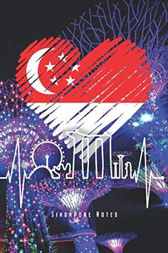 """Singapore Notes: Singapur Skyline Notizbuch Mit Herzschlag Asien Planer Tagebuch (Liniert, 15 x 23 cm, 120 Linierte Seiten, 6\"""" x 9\"""") Lustiges Geschenk Für Singapur Fans & Singapurer mit Herz"""