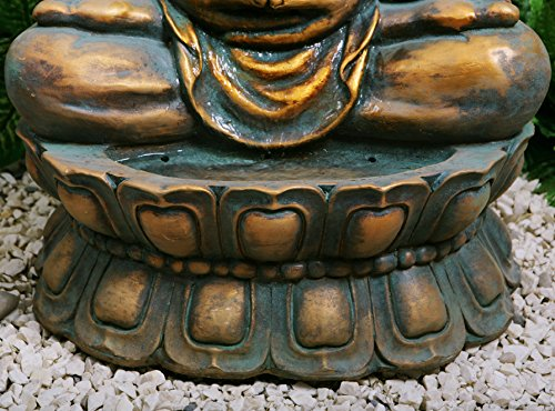 Fuente de Agua Buda Dorado Meditando. Con Luces LED y Esfera 6