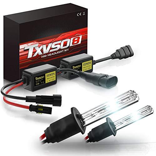 TXVSO Neueste Mini 12 V 55 W Xenon HID Conversion Kit Scheinwerfer für Auto Fahrzeug Ersatz Halogenlampe Set, H1 6000K Diamant Weiß