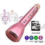 Microfono Wireless HooYL Microfono Karaoke Bluetooth Portatile Altoparlante Bluetooth 4.1 con 1800mAh 3.5mm AUX Compatibile con iOs Android PC Smartphone per il Karaoke Sing Oro rosa