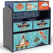 HomeCanvas TF5853 Canvas Little Explorer Multi-Bin Toy Organizer with Storage Bins, Blue