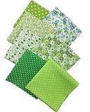 7pcs Stoffpaket 100% Baumwollstoff Patchwork Bedruckt Stoff zum Nähen Stoffreste 50 x 50cm für Kinder DIY Handwerk Scrapbook Quilten Grün