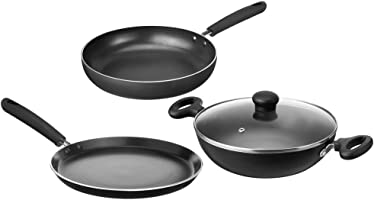 Amazon Brand - Solimo Non-Stick 3-Piece Kitchen Set (Induction and Gas compatible)