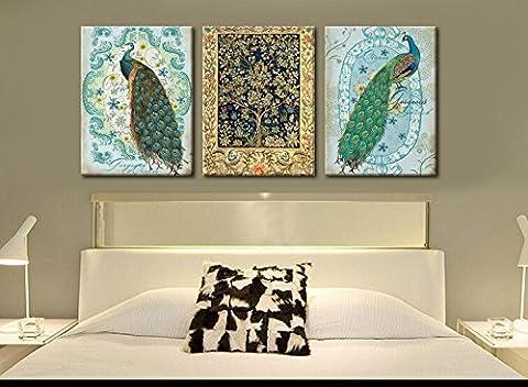 Pingofm Tableaux décorent le salon continental simple peintures murales sont accrochées trois chambre avec fresques et aucune animation image Bleu canard ,35*50,25mm,B