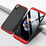 #9: Mobiclonics® 3 in 1 Double Dip Case All Angle Protection Matte Hard Back Case Cover for Xiaomi Mi Redmi Note 5 Pro - Black with Red