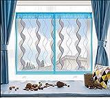 Fliegengitter Für Fenster,Klett-Bildschirm Fenster Vorhang Magnetsand Fenster Bildschirm Mesh Mücke Einfache Verschlüsselung Freistempel Abnehmbar,80*120Cm