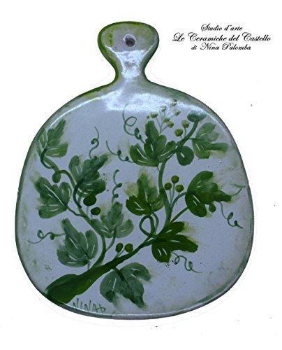 Sottopentola Tagliere Linea Edere Realizzato e dipinto a mano Le Ceramiche del Castello Made in Italy Pezzo Unico dimensioni 18 x 14,5 centimetri