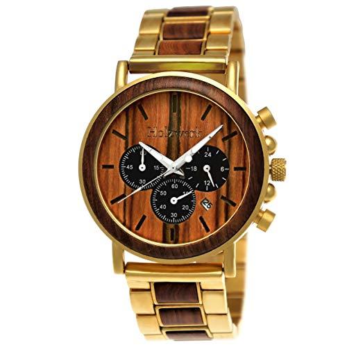 Handgefertigte Holzwerk Germany® Designer Herren-Uhr Öko Natur Holz-Uhr Chronograph Armband-Uhr Analog Quarz-Uhr Braun Gold Datum Holz Ziffernblatt