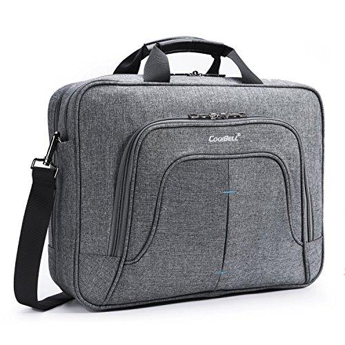 CoolBELL Multi-Fach Aktentasche Messenger Bag Notebook Schultertasche Business Briefcase Nylon Umhängetasche 15,6 Zoll Laptop Computer Tasche für Laptop / Ultrabook / Macbook / Asus / Lenovo / Männer / Frauen (Grau)