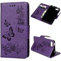 Coque pour Wiko Sunny 3, Etui PU+TPU Fleur Papillon Imprimant Cuir Silicone Carte Support Portefeuille Magnétique Housse - Violet
