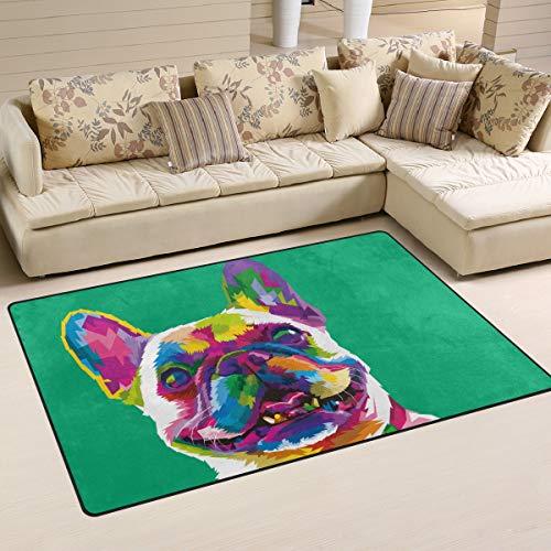 �sische Bulldogge, Rutschfester Teppich, Fußmatten für drinnen und draußen, Tür, Badezimmer, Heimdekoration, 4,3 x 6,1 m, Polyester, Mehrfarbig, 60 x 39 inch ()