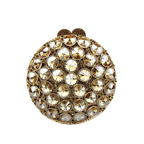 Piccola Squisita Rotonda Borsetta Abiti Di Moda Ornamenti Di Diamanti Borsa A Mano Festa Mini Borsa Da Sera GoldenYellow