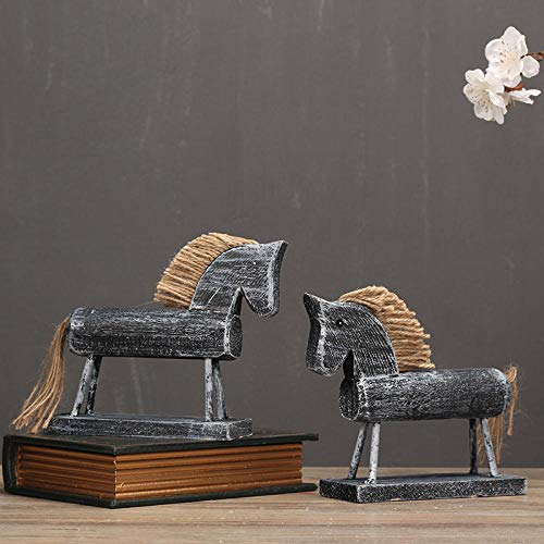 Soprammobili sculture decorative statua cavallo nordico decorazione animale distrutto a mano in legno puleggia cavallo auto casa soggiorno tv armadio decorazione regalo
