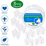 8 Sets of Snore Stoppers Anti Snoring Nose Vents anti Snore Devices Nasal Dilators Easy Sleep Solution Breathing Aids to Heavy Congestion Relief Comfortable Sizes for Nostrils