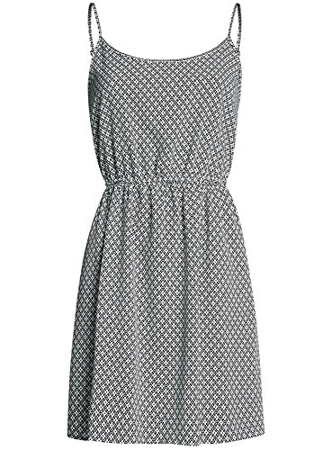 oodji Ultra Damen Bedrucktes Sommerkleid mit Dünnen Trägern Weiß (1229G)