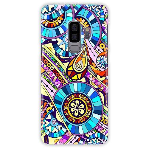 TheSmartGuard Hülle kompatibel für Samsung Galaxy S9 Plus (Galaxy S9+) Hülle Mosaik Muster Blau Lila Gelb Hard-Case Schutzhülle aus Kunststoff Cover Gelb Hard Case