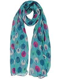 Modern Sketch Tree Design Scarf in Aqua Blue Ladies Fashion Scarves