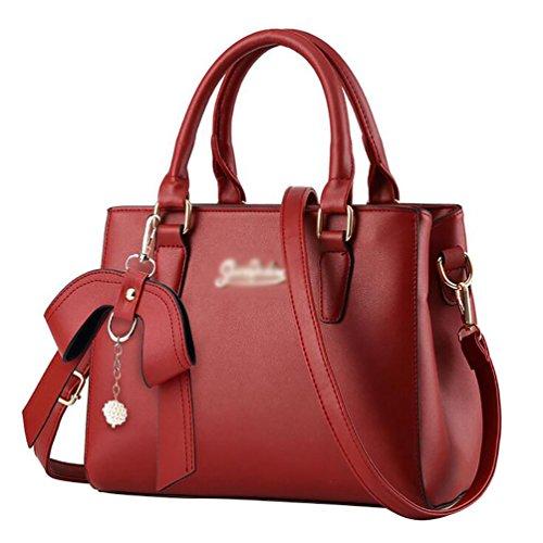 Jitong Donna Borsa a Tracolla Bag Messenger da Vintage PU in Pelle Shopping Borse a Spalla Vino Rosso