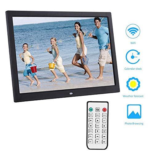 DAETNG Digitaler Bilderrahmen mit 15-Zoll-WiFi-Cloud-Fernbedienung, automatische Fotodrehung, Wiedergabe von Video- und Fotodiashows, HD IPS-Display, Android-App, USB- und SD-Kartensteckplätze,Black