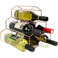 Rose Gold Wine Rack | 6 Bottle Free Standing Wine Shelf | Hexagon Modern Design | Wine shelf cabinet | M&W