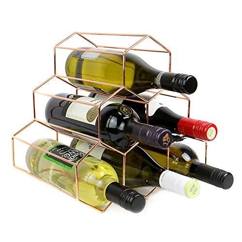 Maison & White Rose Gold Weinregal | 6 Flasche freistehendes Weinregal | Sechseck modernes Design | Weinregal